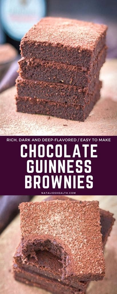 Fudgy, luxurious, and extra chocolatey, these Guinness Brownies are perfect St Patrick's Day treat! + They're easy to make with pantry ingredients and completely guilt-free.