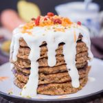 Carrot Cake Pancakes topped with Maple Cream Cheese drizzle