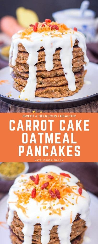Carrot Cake Pancakes with Maple Cream Cheese Frosting
