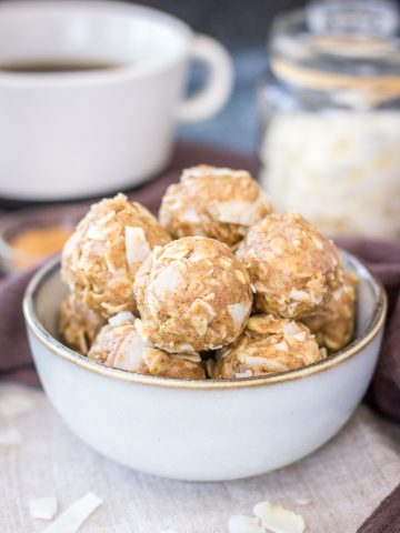 Healthy Peanut Butter Coconut Balls with oats