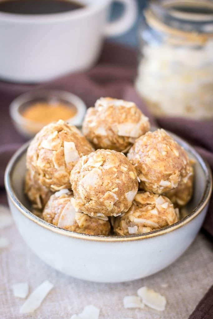 Gluten-free no-bake vegan Peanut Butter Coconut Balls with oats