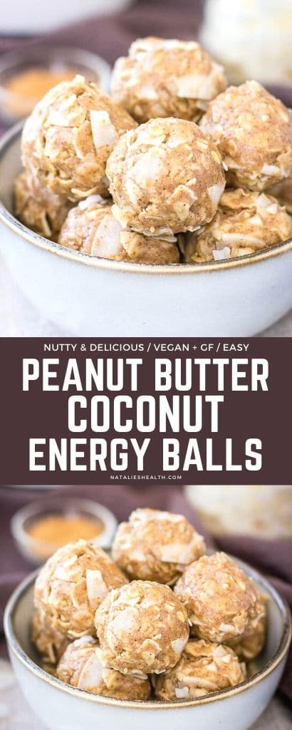 Healthy vegan, gluten-free Peanut Butter Coconut Balls