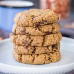 Coconut Flour Cookies made with peanut butter loaded with chocolate chunks
