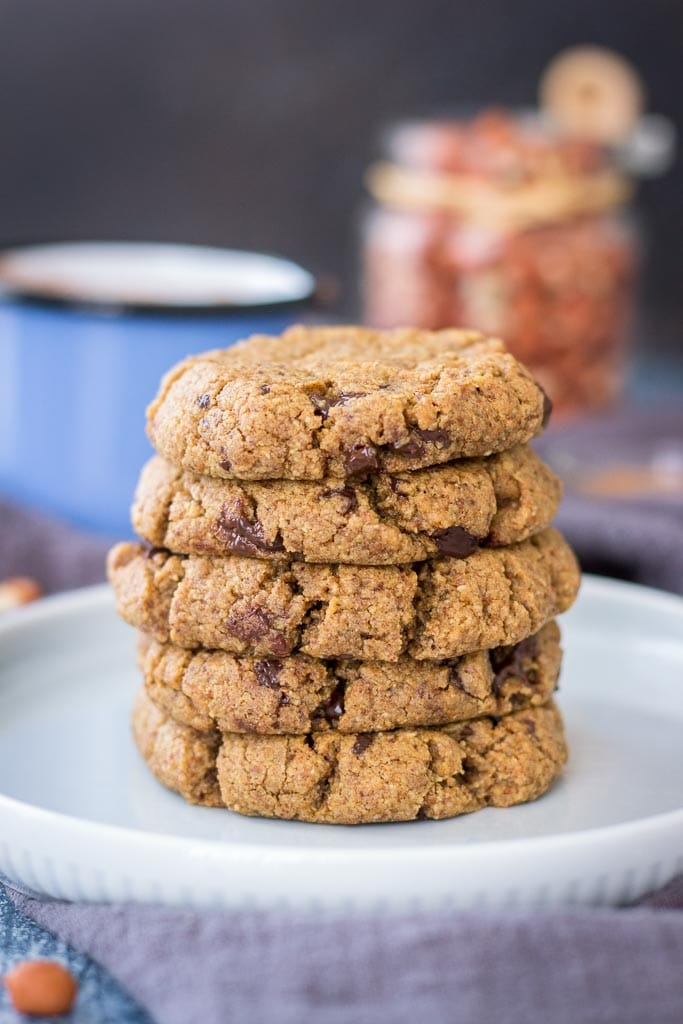 Coconut Flour Cookies made with peanut butter filled with dark chocolate chunks