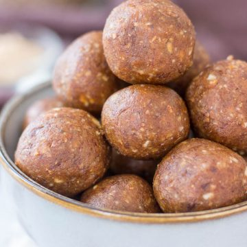 Healthy Almond Butter Energy Balls made with almonds and almond butter, served in a bowl