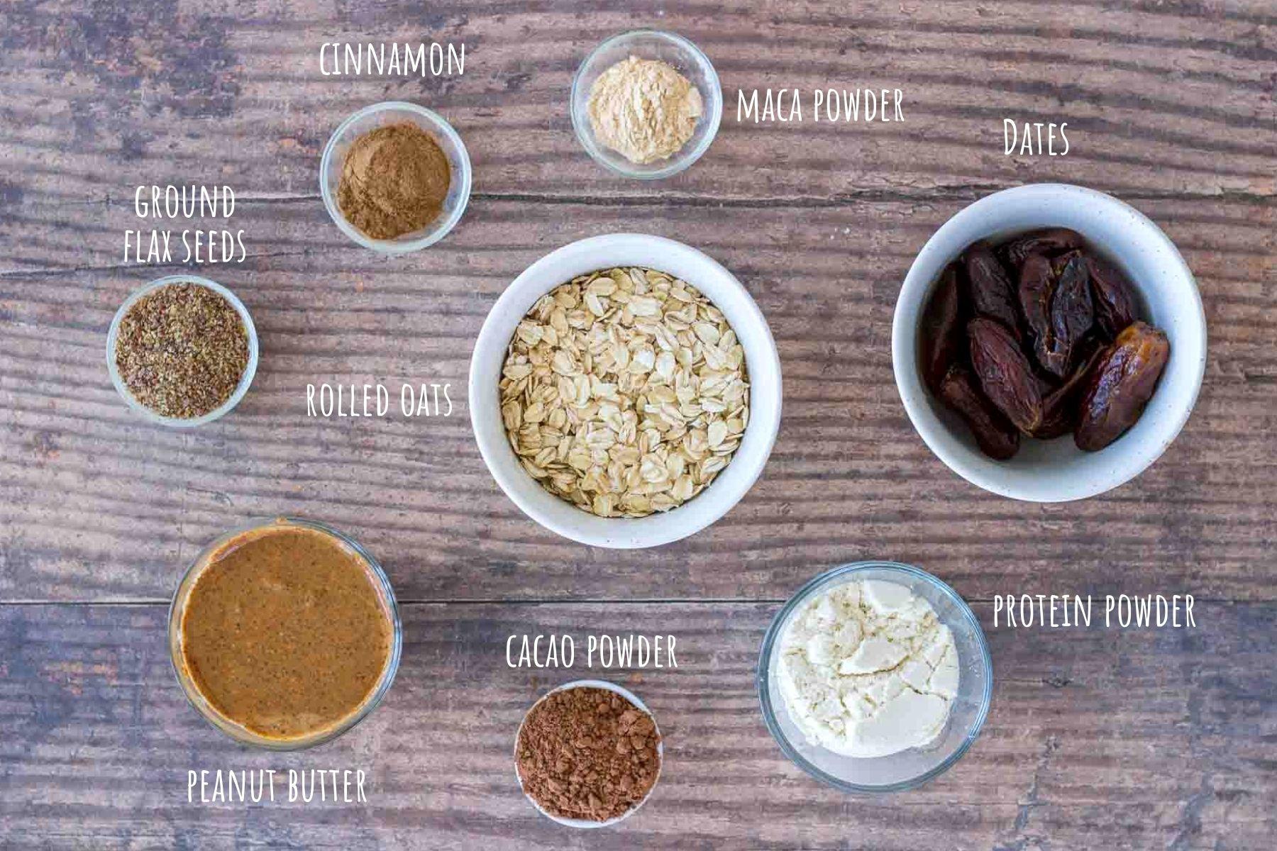 Chocolate Peanut Butter Protein Balls Ingredients