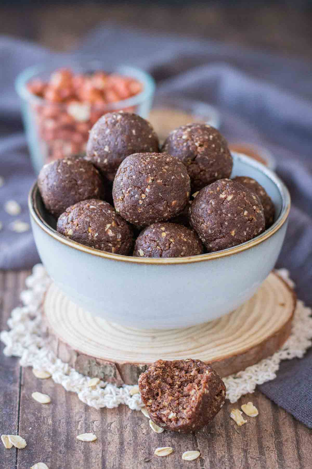 Chocolate Peanut Butter Protein Balls served in a small bowl
