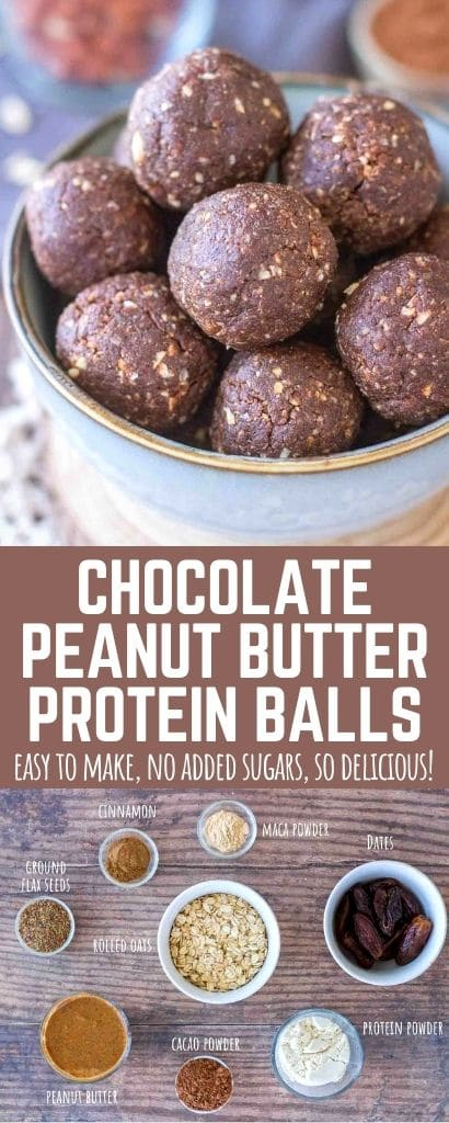 Chocolate Peanut Butter Protein Balls PIN