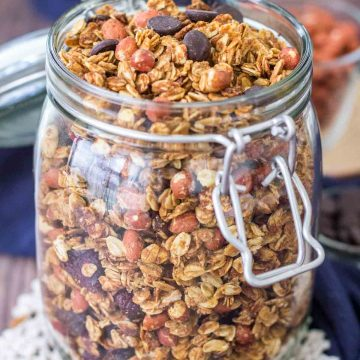 Homemade Granola stored in a glass jar