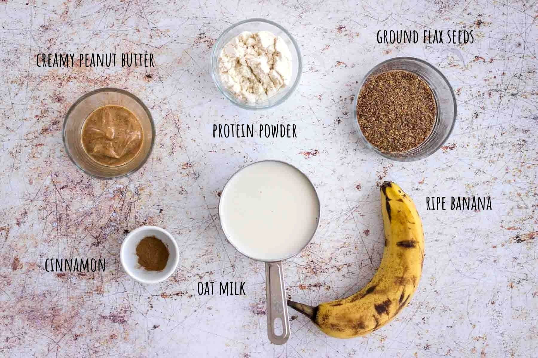 Peanut Butter Protein Shake ingredients placed on a table