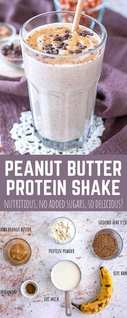 Peanut Butter Protein Shake served in a glass with a straw with showed ingredients used