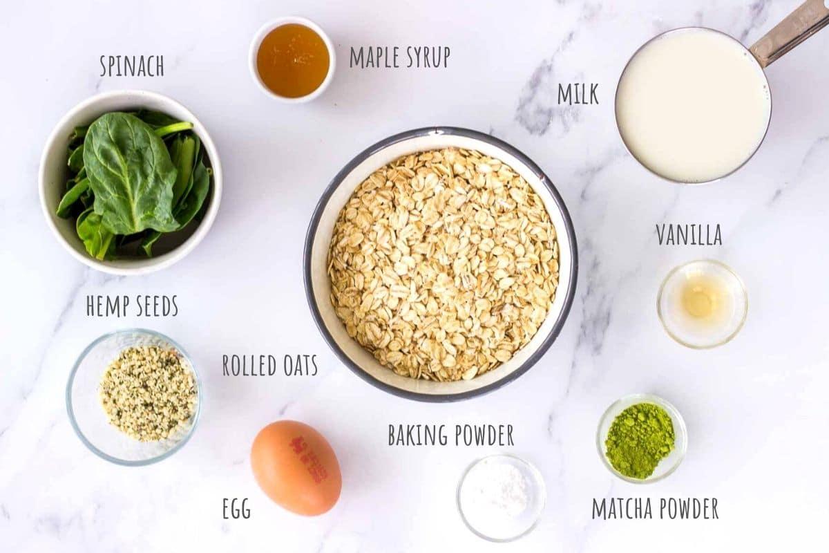 Matcha Pancakes recipe ingredients.