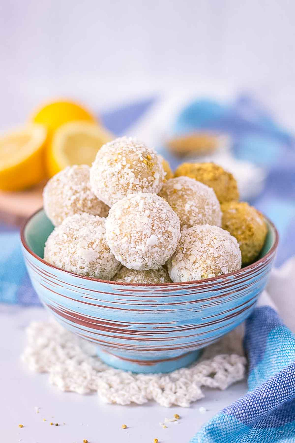 Lemon Coconut Energy Balls served in a bowl