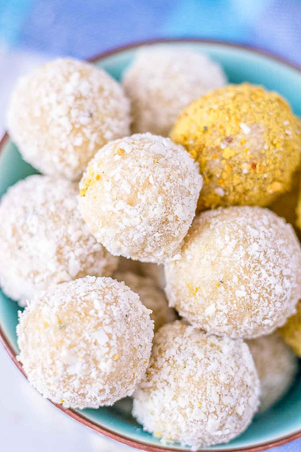 Closeup Lemon Coconut Energy Balls served in a bowl