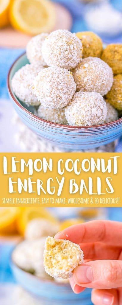 Lemon Coconut Energy Balls Pin image