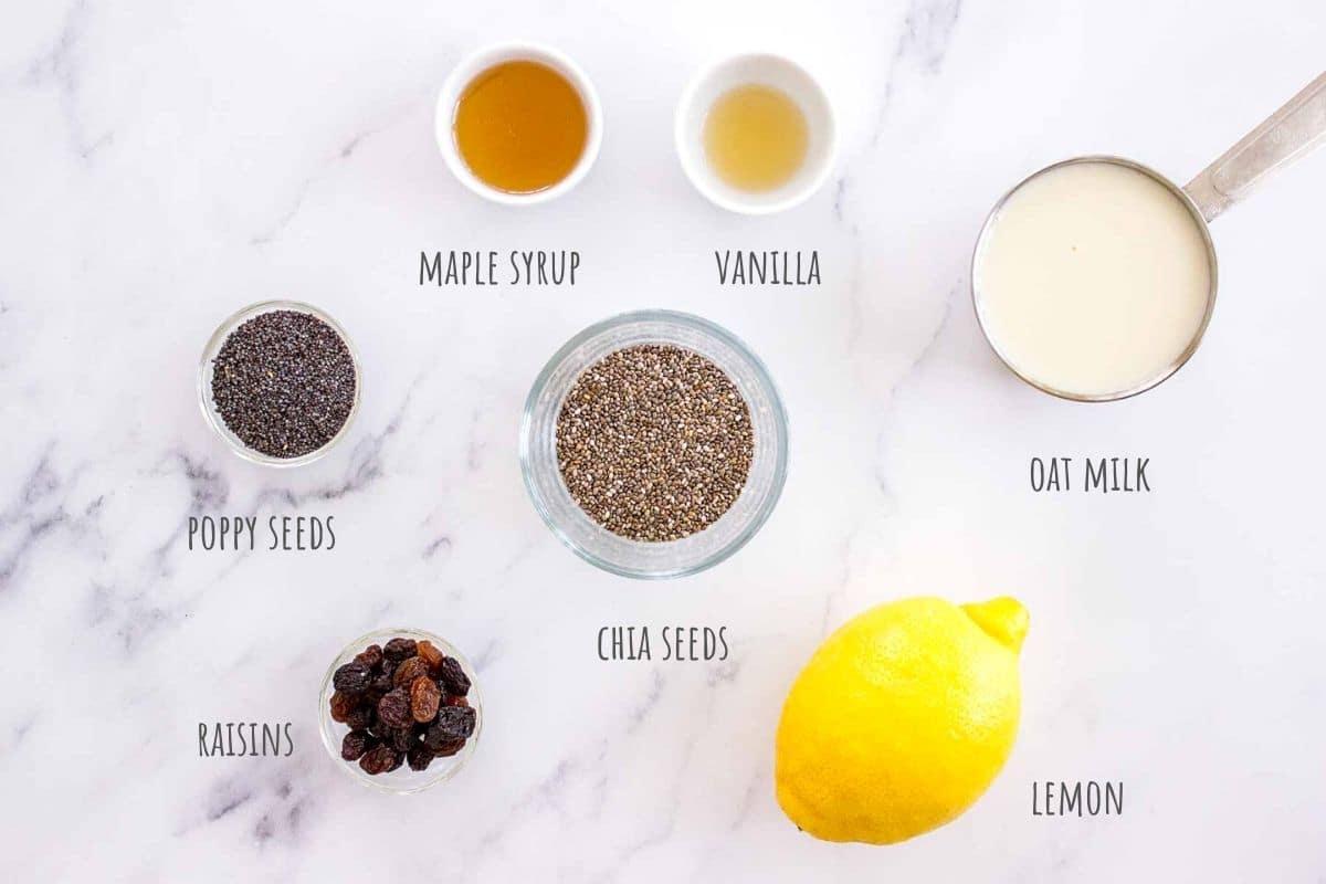 Lemon Poppy Seed Chia Pudding ingredients