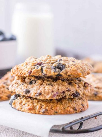 Blueberry Oatmeal Cookies stacked