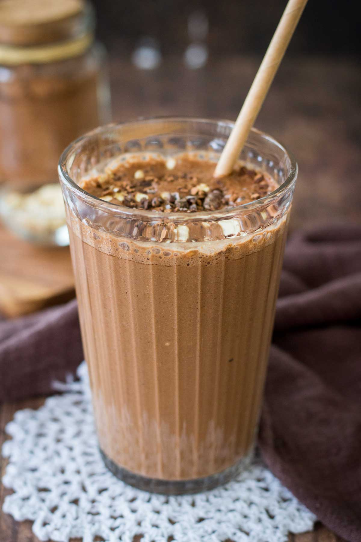Coffee Smoothie served in a smoothie glass with a straw