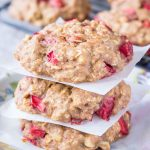 Strawberry Oatmeal Cookies stacked on a plate