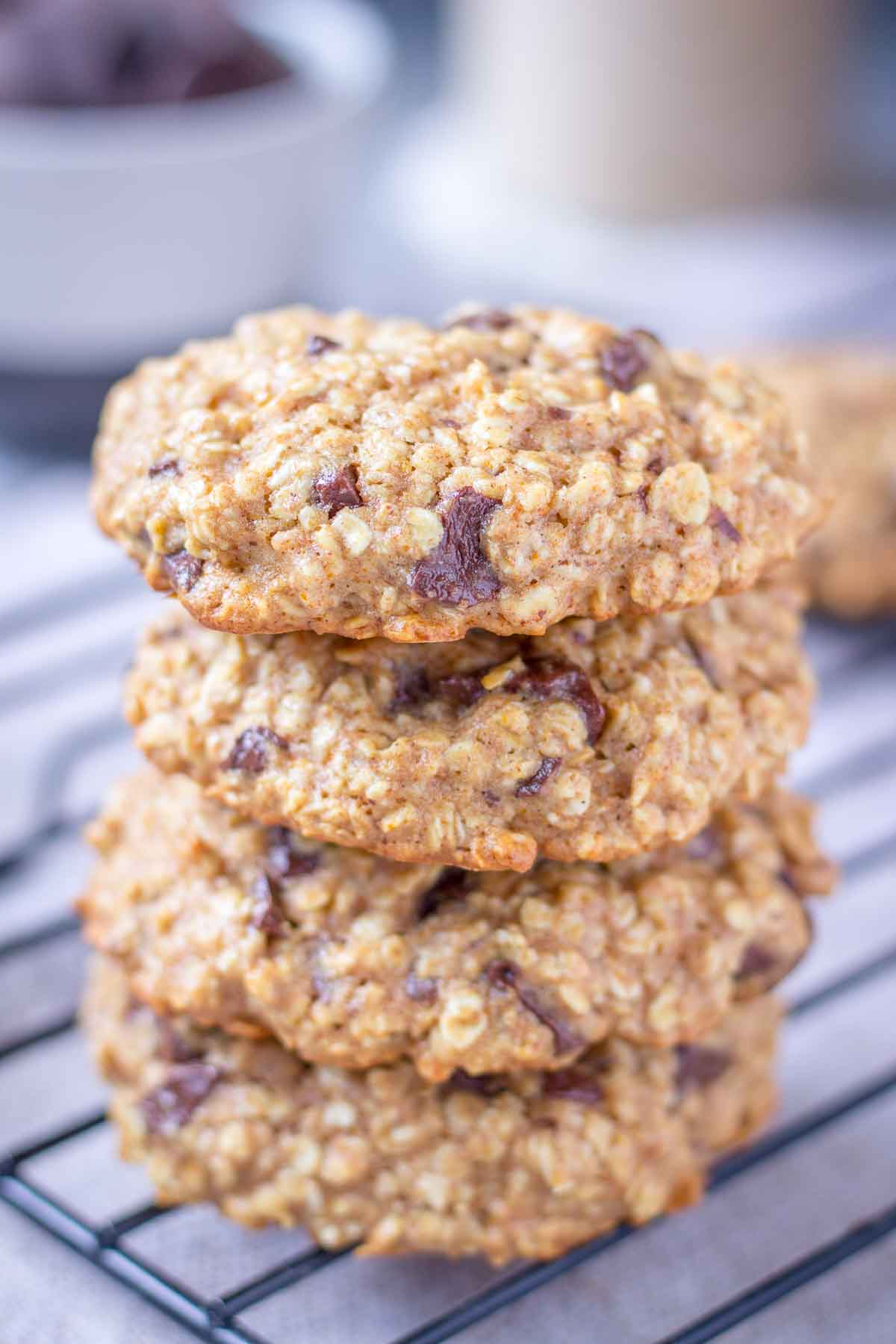 Closeup Oatmeal Cookies stacked on a cooling tray