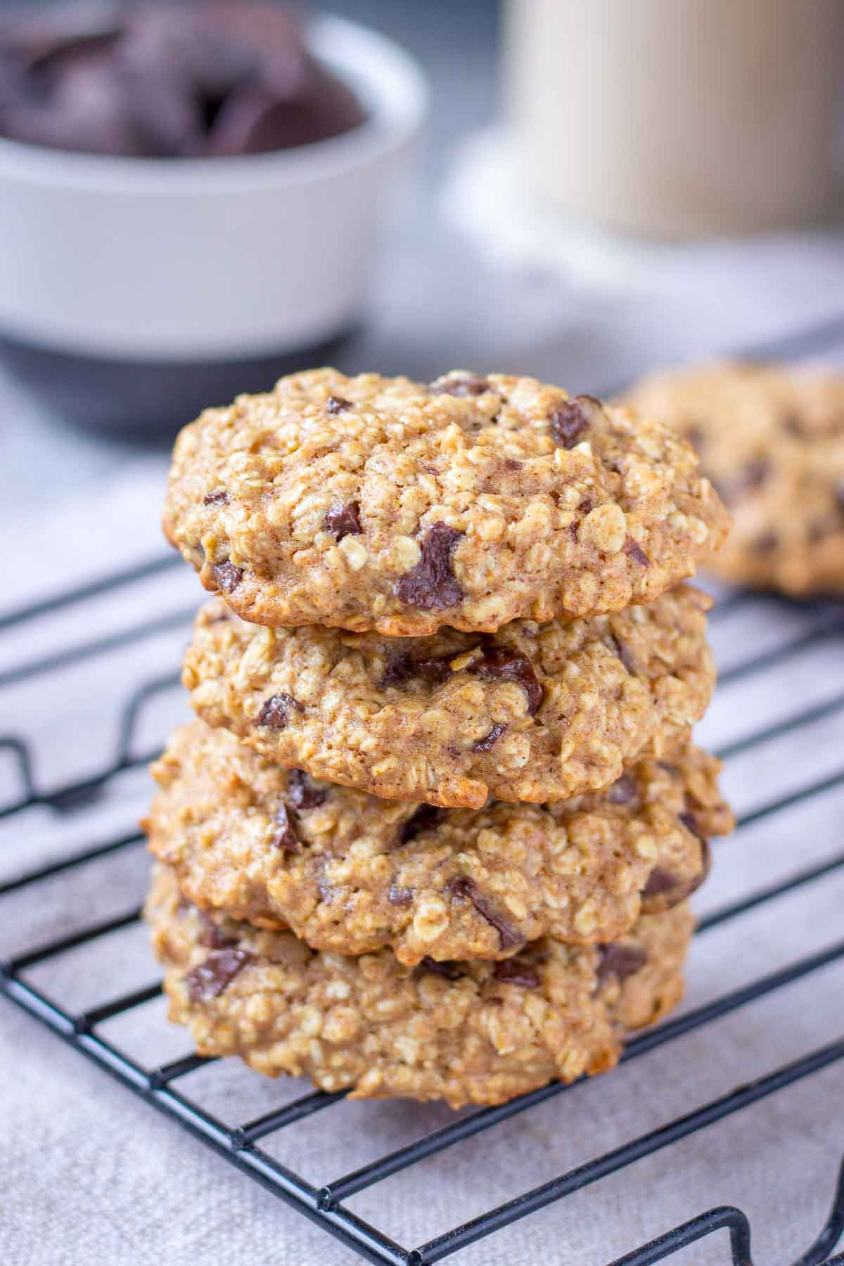 Chocolate Chip Oatmeal Cookies stacked