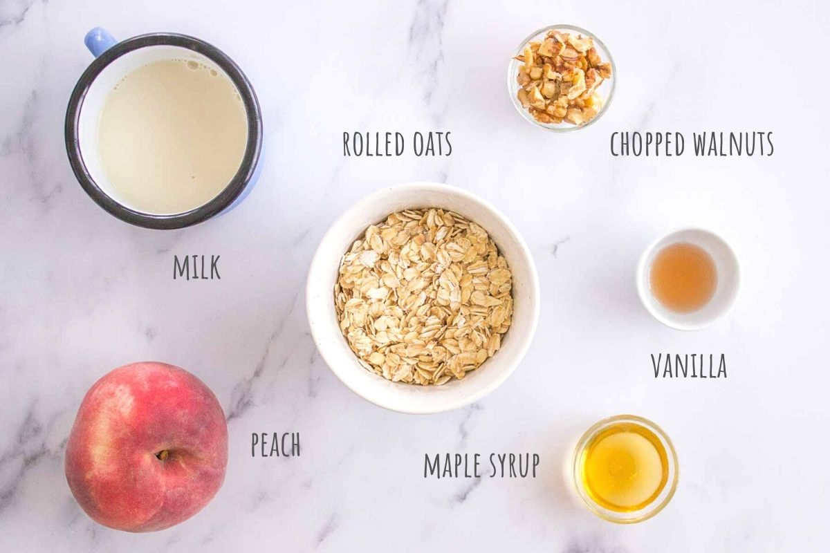 Peach Overnight Oats ingredients