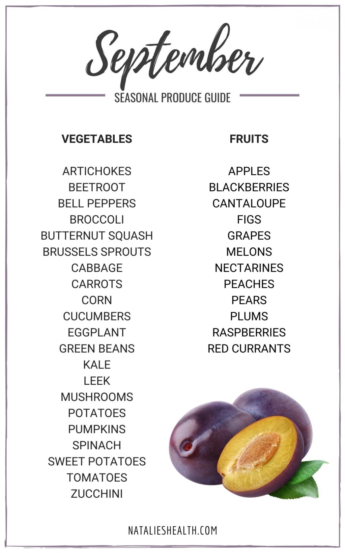 Seasonal Produce Guide What's in Season SEPTEMBER PINimage