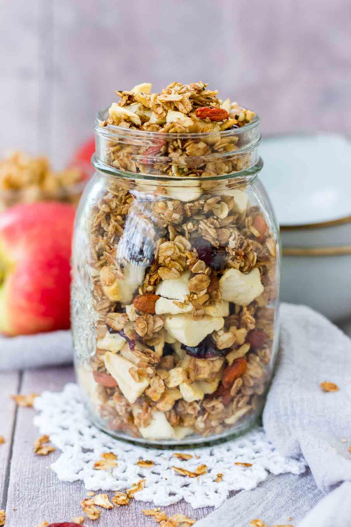 Apple Cinnamon Granola in a glass jar