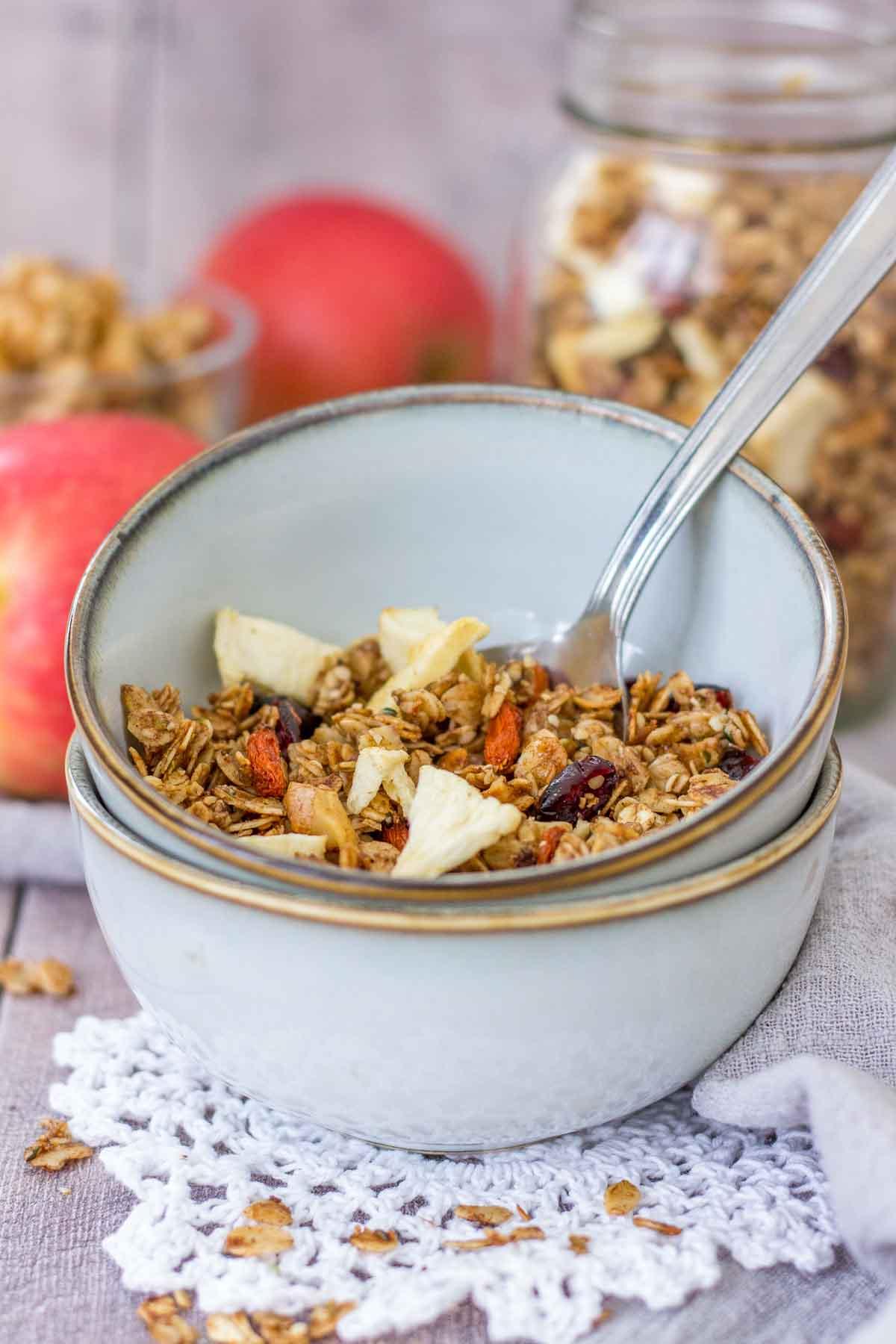 Apple Cinnamon Granola served in a bowl