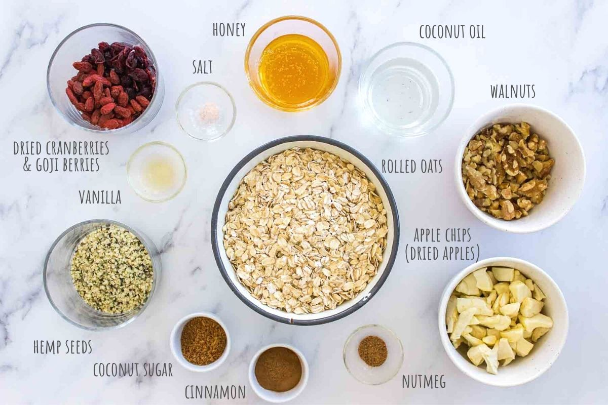 Apple Cinnamon Granola ingredients