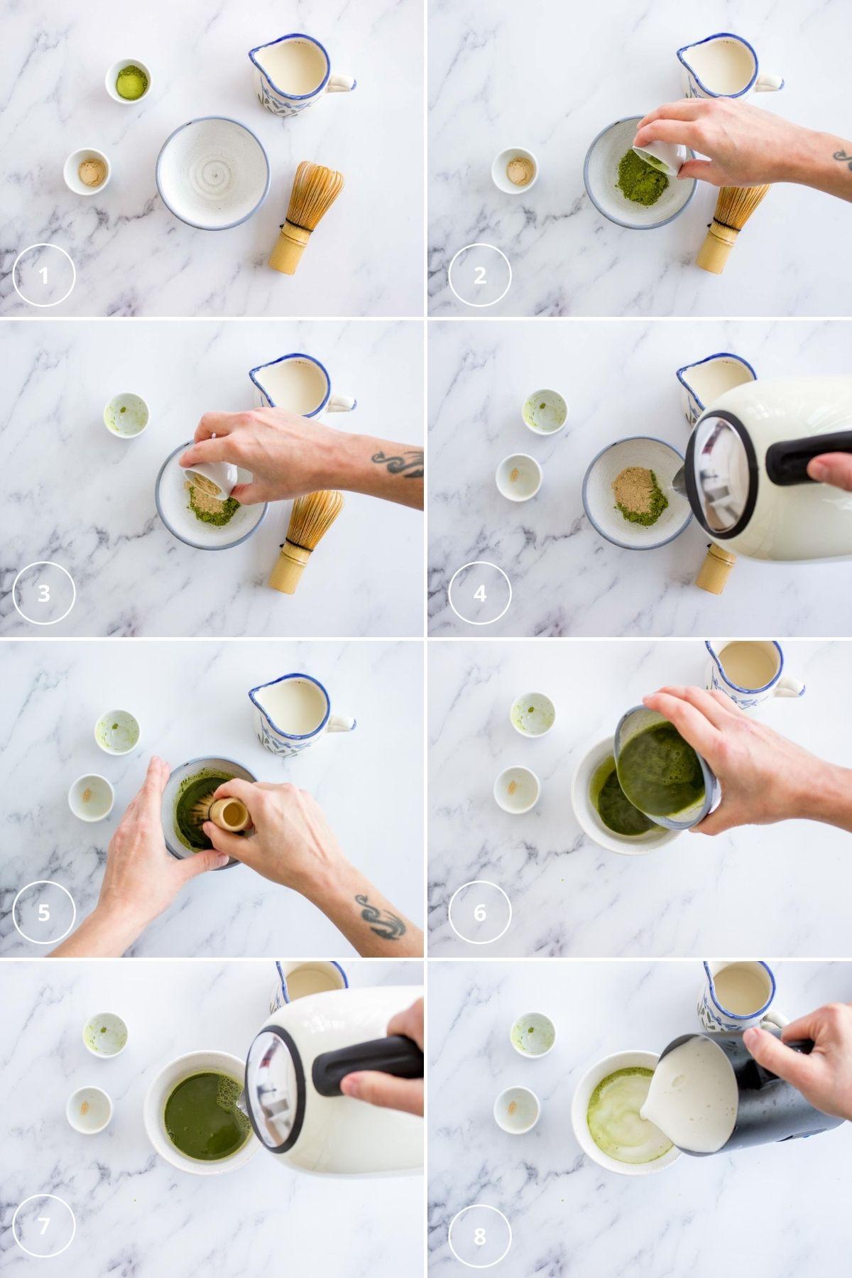 Matcha Maca Latte process shots